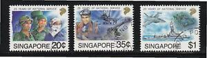 SINGAPORE 1992 25 YEARS OF NATIONAL SERVICES COMP. SET 3 STAMPS SC#631-633 USED