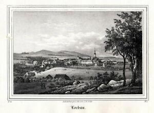 Originale Lithographie aus Saxonia um 1840 Gesamtansicht Poesneck