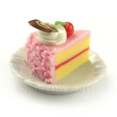 Miniature Pink Iced Individual Cherry And Nougat Cake Slice Dollhouse Miniatures Dolls & Bears