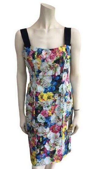 ERDEM Ausreißer Blumenmuster Knielänge Kleid Größe Eu 12 US 8 It 44 L