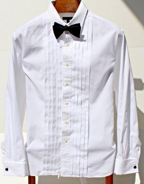 Burberry London 16/34 White 10-Pleat French Cuff Formal Shirt - USA -- $425.00 -
