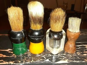 Vintage-Shaving-Brushes-Rubberset-Ever-Ready-Green-amp-Butterscotch-Bakelite-Wood