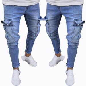 Mens-039-Skinny-Jeans-Long-Pants-Elastic-Straight-Casual-Denim-Trousers