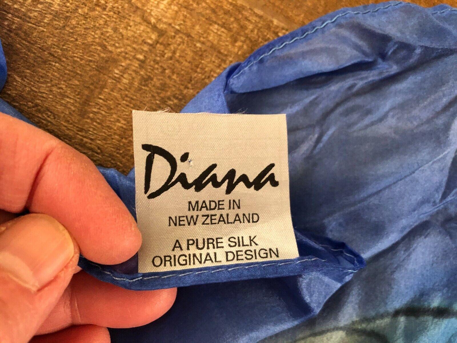 "Diana New Zealand 41"" Pure Silk Scarf Pashmina bl… - image 2"