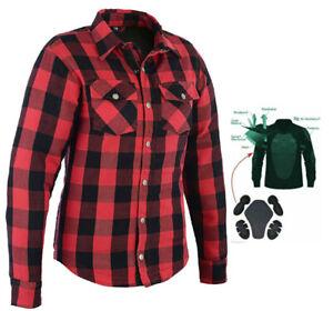 Women/'s Motorcycle Kevlar® LIned Flannel Lumberjack Shirt Red Black Flanny