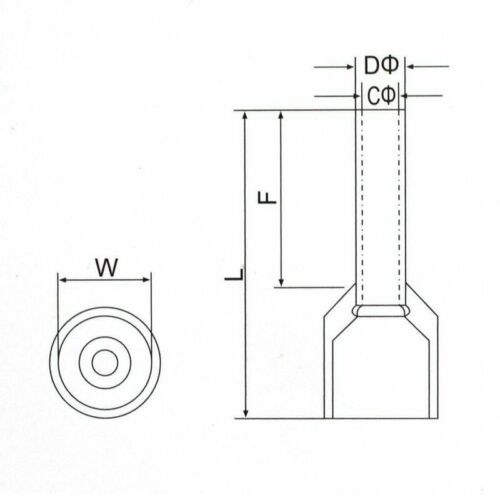 "1000pcs 16 Gauge Wire Crimp Ferrule Pin Cord End /""Insulated/"" E1508 Red"