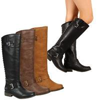 Breckelle's Studded Zipper Buckles Straps Riding Knee Boots Low Heel Tenesee 16