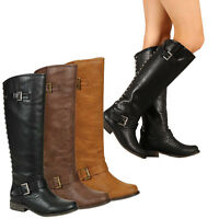 Breckelle's Studded Zipper Buckles Straps Riding Knee Boots Low Heel Tenesee 16