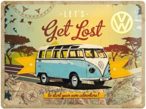 Blechschild Get Lost VW Bus T1 Neu /& OVP Postkarte
