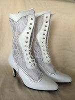 Oak Tree White Chapel Lace And Leather High Heel Boot, Size 7, 7.5, 9.5, 11
