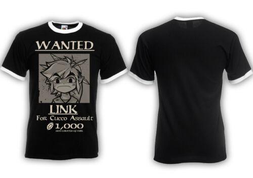 Lien Wanted Ringer T-Shirt Zelda Link Game culte gucco Assault Hyrule Triforce