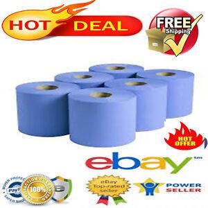 6-X-Rollos-de-alimentacion-Centro-Azul-2ply-Rollo-De-Cocina-Toalla-de-papel-del-limpiaparabrisas