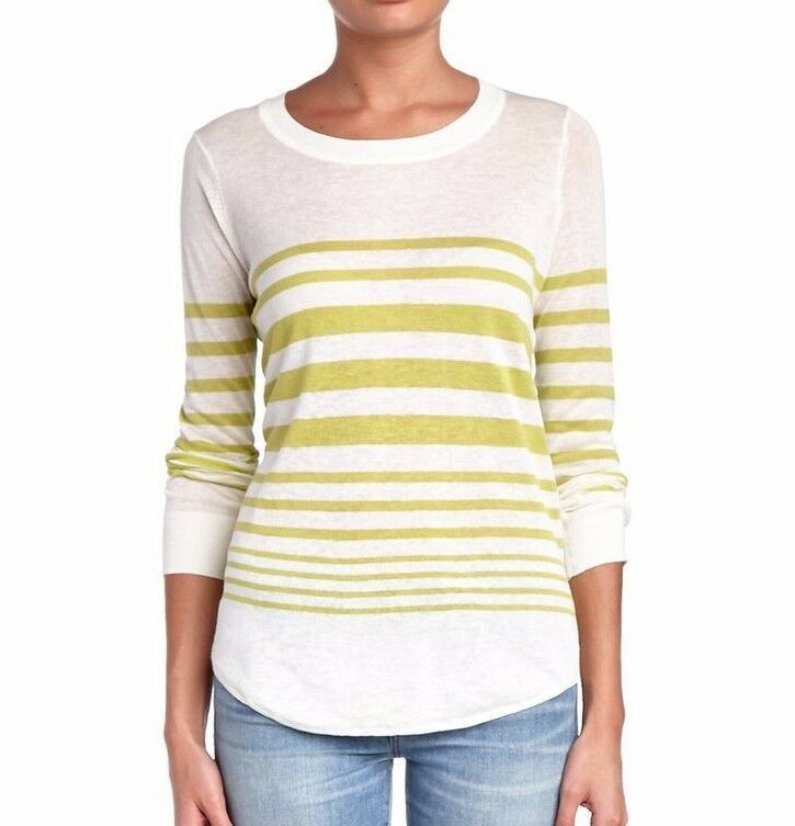 NWT SPLENDID WOMEN SzM HIGHLAND STRIPE LINEN LONG SLEEVE SWEATER TOP AVCM