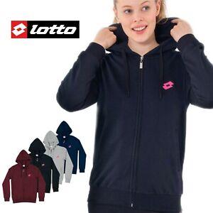 Felpa Donna Zip Con Cappuccio Caldo Cotone Invernale Sportiva Lotto S M L XL