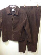 Ultra suede Harlan Size 10 Brown Suede Suit Pants Jacket