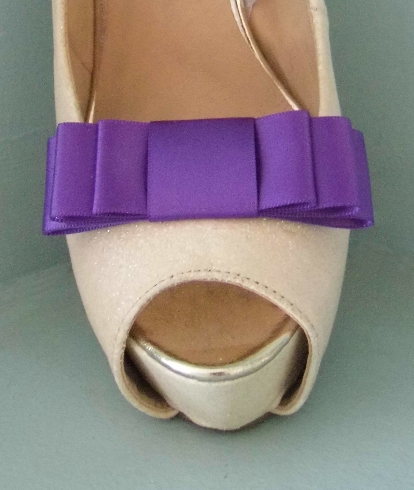2 Handmade Purple Triple Bow Shoe Clips - other colours on request