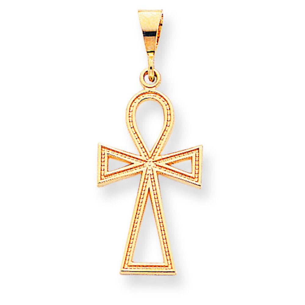 10K Yellow gold Egyptian Ankh Cross Charm Pendant MSRP  180