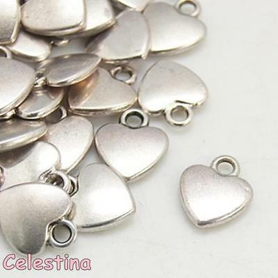 25 Heart Charms Antique Silver Double Hearts 18mm LF Valentines Love Beads