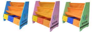 Kiddi-Style-Wooden-Childrens-Kids-Sling-Bookshelf-Rack-Toy-Chests-Storage-Bins