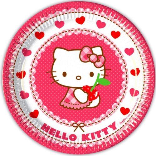 23cm Hello Kitty Hearts Partydekoration Motivteller 8er Pack