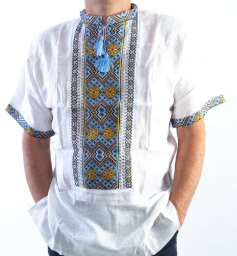 VYSHYVANKA Mens Embroidery LINEN White blue Yellow Short sleeve shirt S-4XL