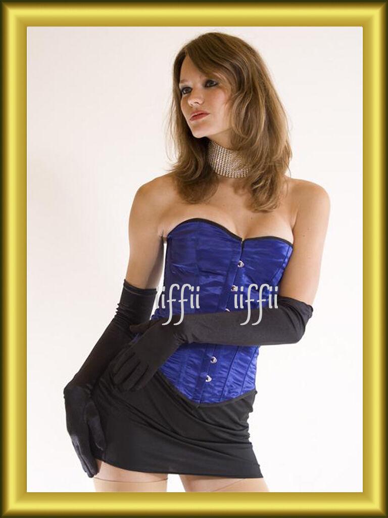 Bustino In Pizzo corsetto corpetto di raso blue tg. 3456
