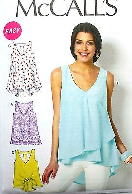 M6960 McCall's Sewing Pattern EASY Misses 4-26 Pullover Tank or T-Back Top  Tunic | eBay