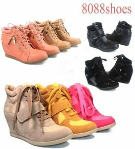 Women-039-s-Fashion-Lace-Up-High-Top-Ankle-Wedge-Heels-Sneaker-Boots-Shoes-Size-6-10