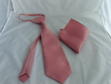 Dusky Pink Boys/Teens Pre-knotted Tie & Hanky Set-Noose knot-Fits>6 - 16 Years +