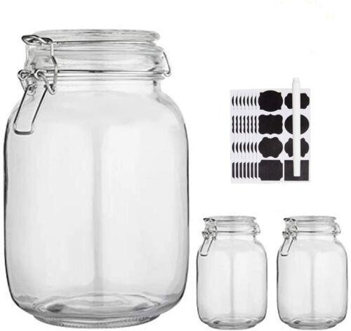 NEW Glass Kitchen Storage Canister Mason Jars with Lids,50oz Airtight Glass