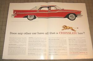 """1959 Red 2-Tone CHRYSLER WINDSOR 19.5"""" x 14"""" Life Magazine 2-Page Ad"""
