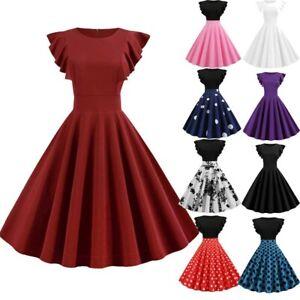 Women-Fashion-Solid-Ruffle-Sleeve-Dress-Round-Neck-Zipper-Hepburn-Party-Dress-AU
