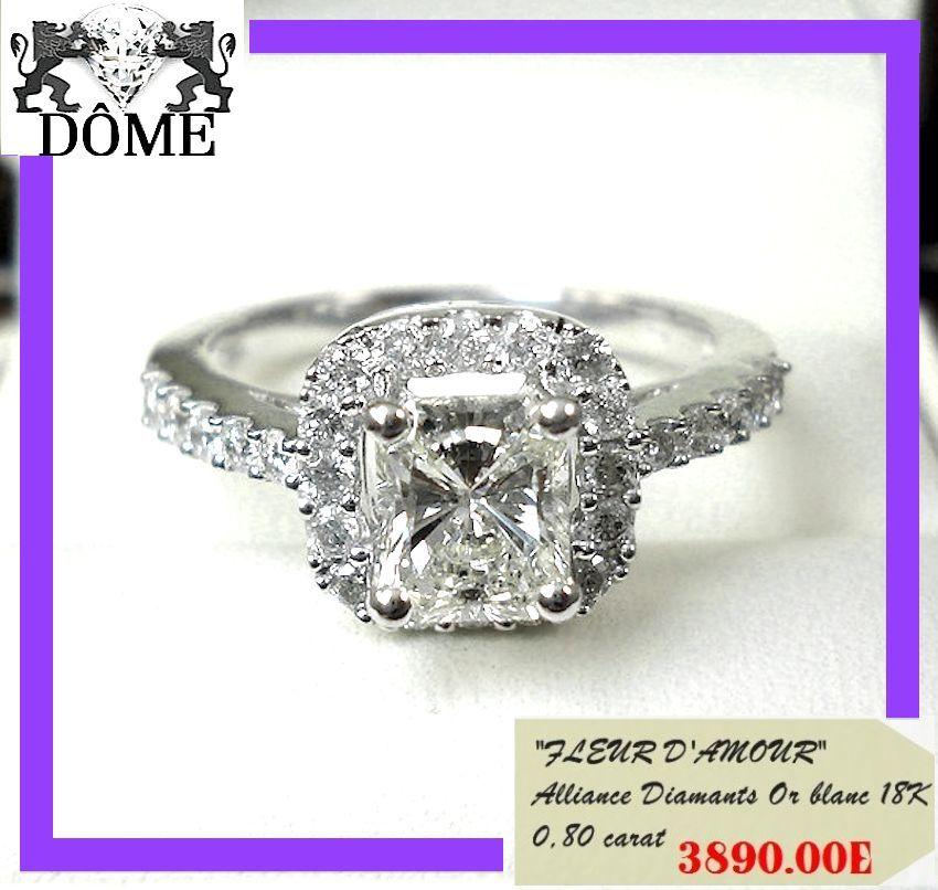 PROMO GRACIEUSE ALLIANCE BAGUE OR white DIAMANT SOLITAIRE 18K 750  CT 4890E