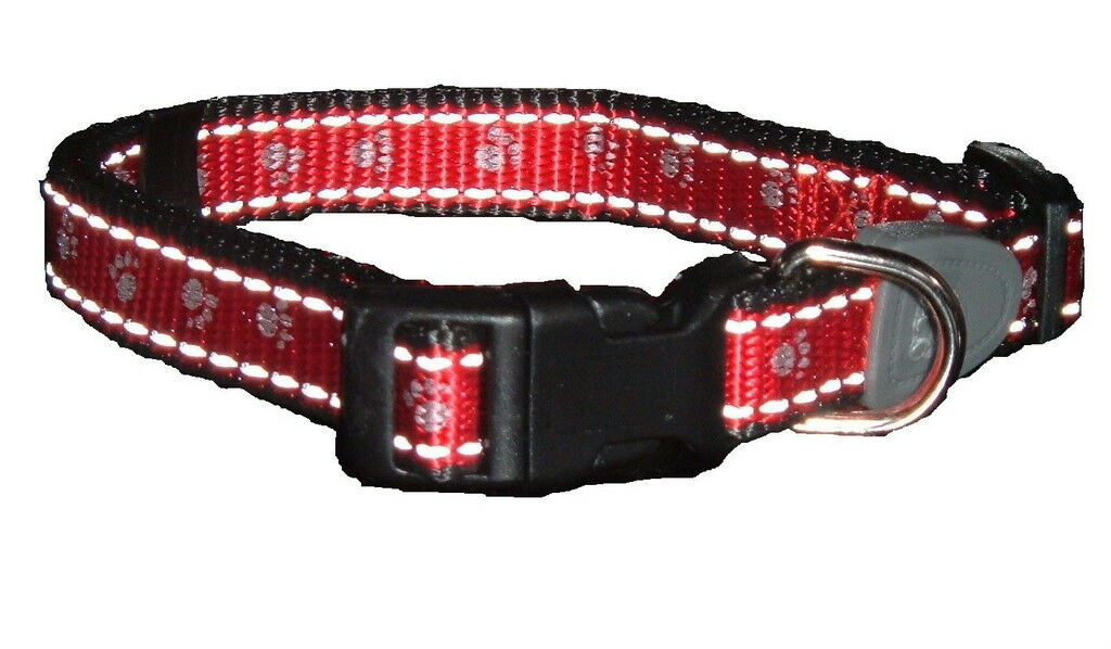 Reflective Dog Collar RED Small -CHOOSE FROM 2 COLOURS