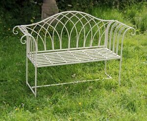 Image Is Loading Shabby Chic Garden Bench Cream Steel