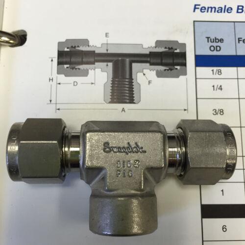 Swagelok Female Branch TEE ss-600-3TTF 3//8 tube X 3//8 tube X 1//4 NPTFemale