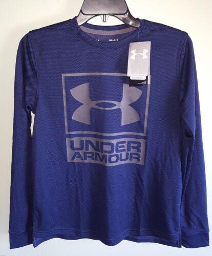 Under Armour Boys LARGE 14-16 Long Sleeve Textured Shirt NAVY 14299372   #64171
