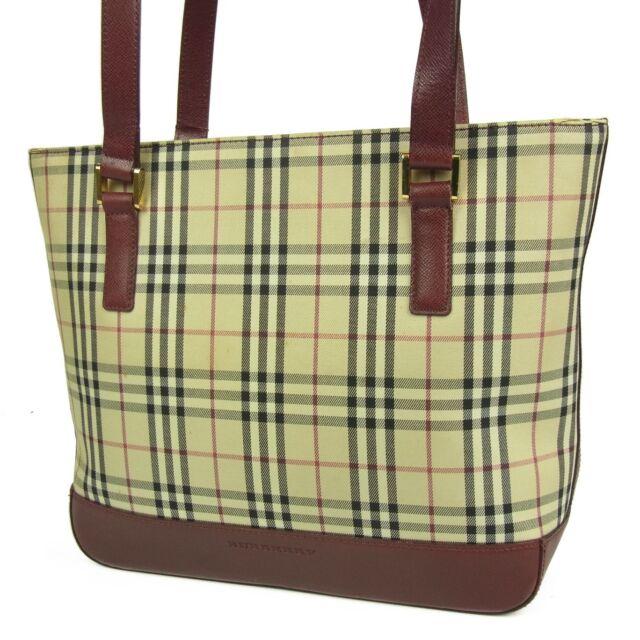 5798721e0311 Auth BURBERRY Logos Nova Check Plaid Canvas Leather Tote Shoulder Bag F S  2399