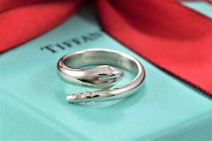 8882037f98ff5 Details about Tiffany & Co. Sterling Silver Elsa Peretti Snake Ring Size  6.5 w/ Box & Pouch