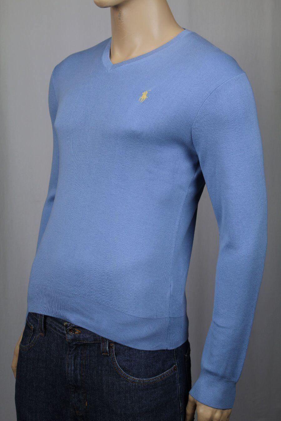 Polo Ralph Lauren bluee Pima Cotton Sweater Yellow Pony NWT