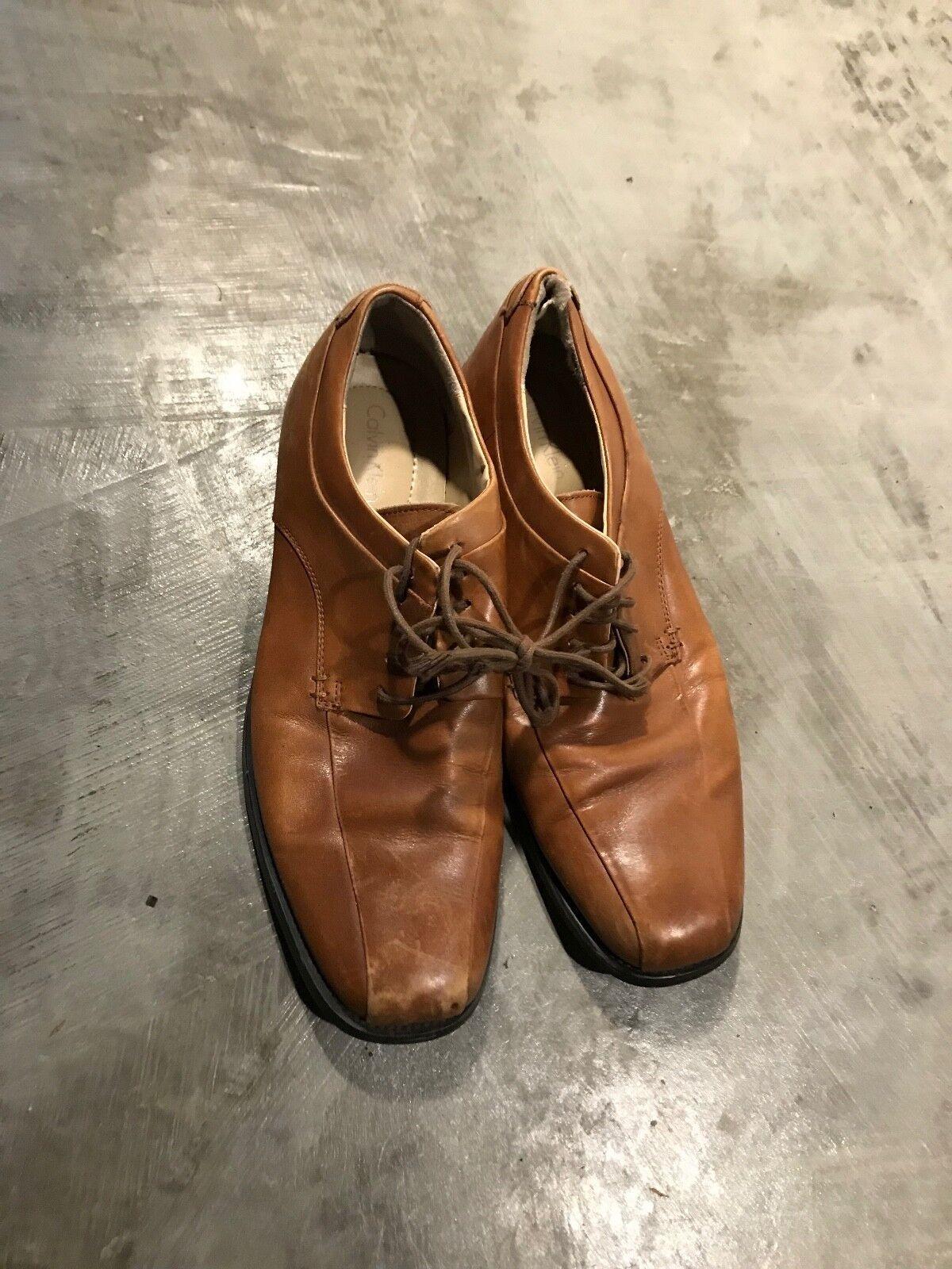 Calvin Klein Brown 10 Leather Dress Formal Shoes - SZ 10 Brown M 10M 3359c7