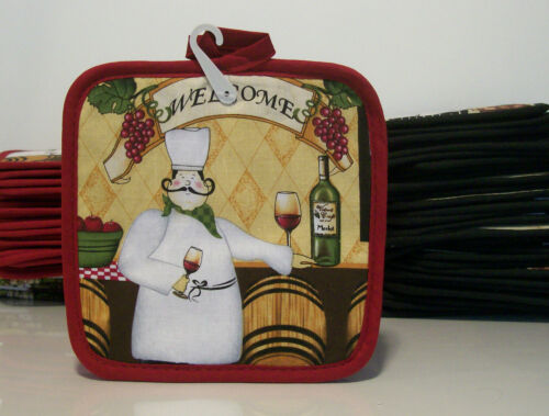 "FAT CHEF /""WELCOMES YOU/"" Kitchen 2-pk POT HOLDERS New with Tag"