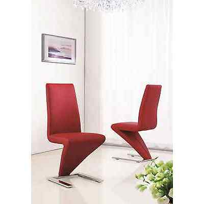 MODERN DESIGNER LEATHER CHROME Z DINING ROOM CHAIRS (FOUR COLOURS) IJ632