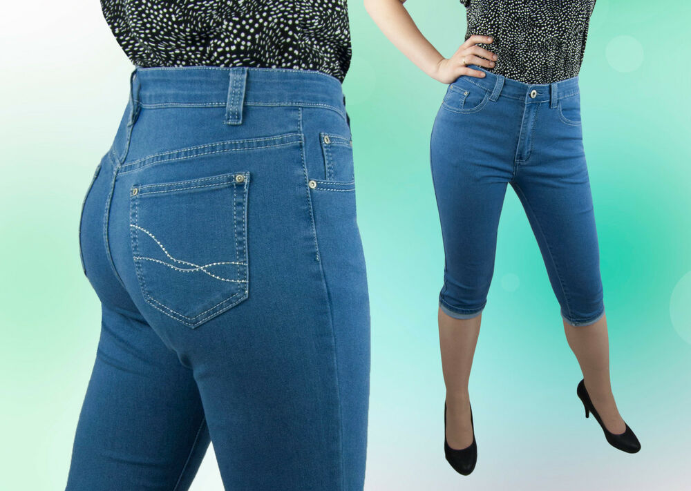 Jeans Femmes Capri Pantalon Capri Jeans Normal Assis Bleu 42 48 50