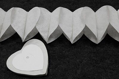 2 Guirlandes Papier Mini-coeurs Blanc4 M. Décoration De Mariage Superficie Lucente