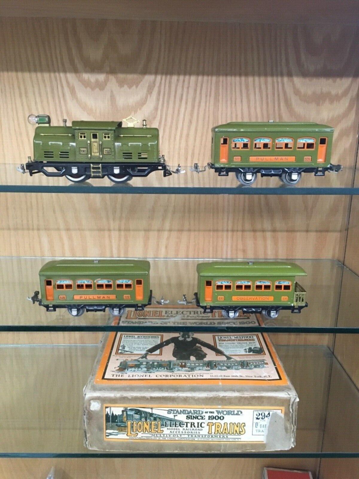 Lionel O Gauge 294 Set w  252 Loco, 2 x 529 Pullman and 530 Obs c.1928 w  SB