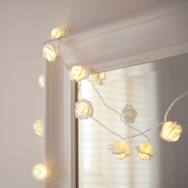 30 White LED Rose Flower Indoor Bedroom Fairy String Lights on 2.9m Clear Cable