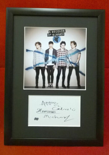 5 Seconds of Summer 5SOS #85 Framed Photo /& Autograph Display