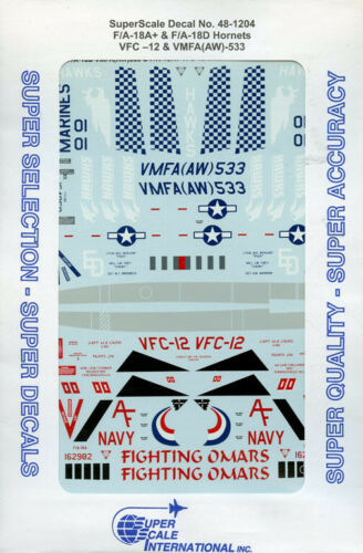 AW SuperScale Decals 1:48 F//A-18 A F//A-18 D Hornets VFC-12 VMFA -533 #48-1204