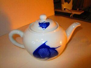 Vintage-Asian-White-Porcelain-Teapot-with-Cobalt-Blue-Kio-Fish-No-Flaws-RARE